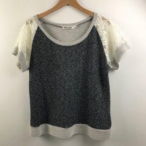 Liberty Love lace short sleeve sweatshirt top